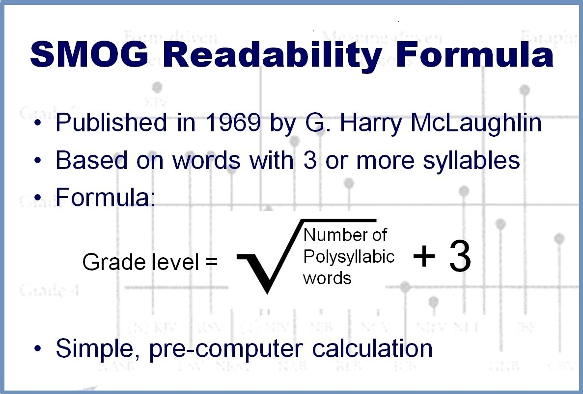 How did the smog index become a crucial readability formula for.