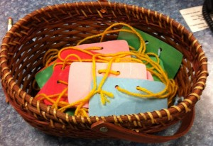 basket of name tags
