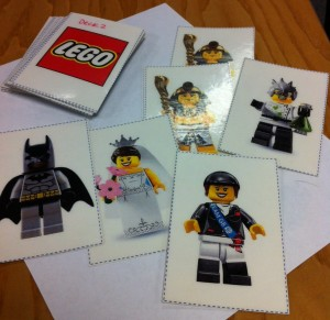 lego character on laminated paper
