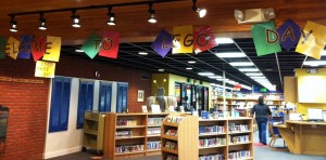 library decorated for lego day