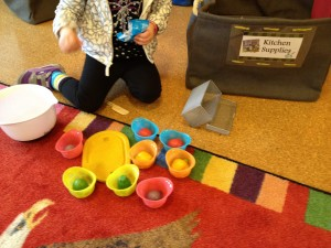 Soup's on! Wooden play food and a few simply supplies allow hours of creative play.
