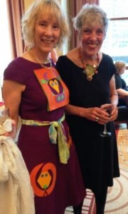 Gaye Hinchliff (King County Library System) wearing her Color Zoo dress, with Color Zoo illustrator Lois Ehlert