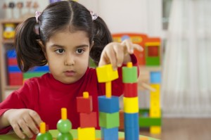 Using blocks to play at the library