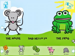 My story about a mouse and a frog. Sticker options along the bottom of the screen.