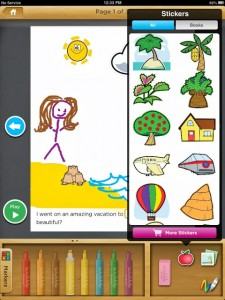 stickers show in Scribble My Story app