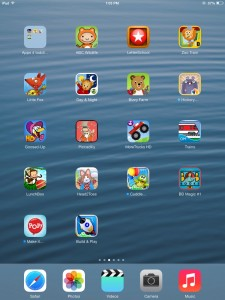 Screen shot of the apps we suggested for toddlers and preschoolers.