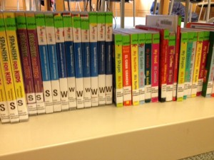 A shelf of Spanish Language materials at Darien Library, courtesy of the author.