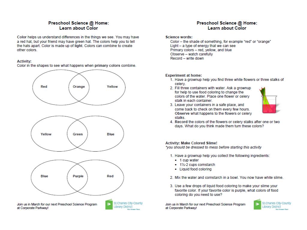 take home activity handouts for preschool science programs alsc blog