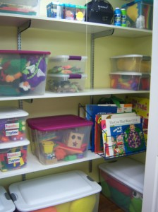 An organized storytime closet. [Photo courtesy of the author.]