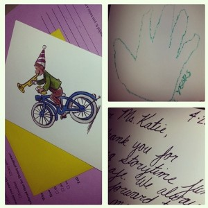 A thank-you card from a parent after storytime session.  [Courtesy of the author, originally posted on Instagram.]