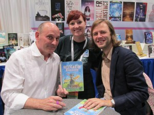 Jon Scieszka, Rikki Unterbrink and Mac Barnett with Battle Bunny book