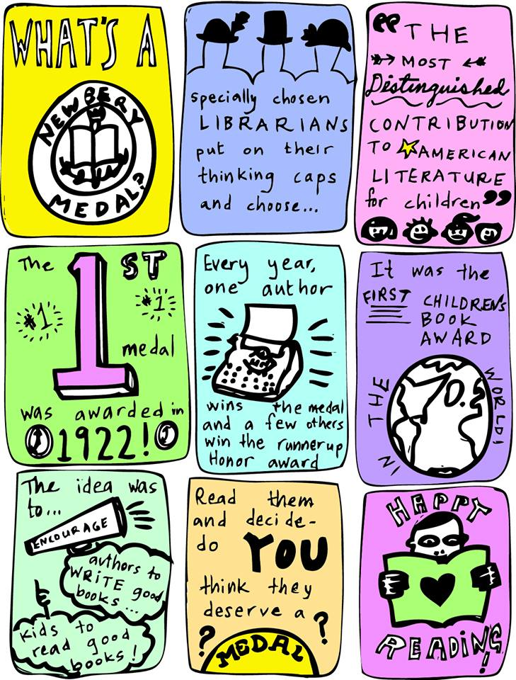 Harold W. McGraw, Jr. fellow Lisa Nowlain designed this AMAZING graphic to explain how awesome the Newbery award is.
