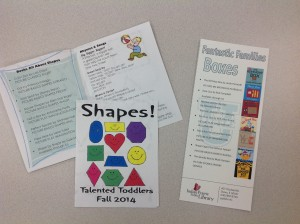Two storytime handouts, one for Toddlers and one for Families.