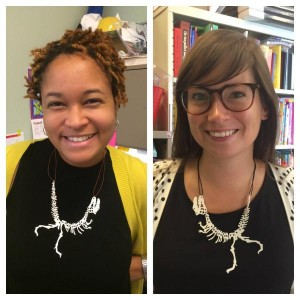 Krishna Grady and Amy Laughlin craft dinosaur necklaces from a 3D printer.