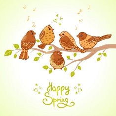 Happy Spring sign with birds on a branch