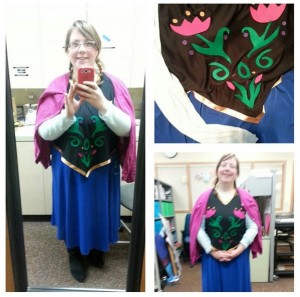 [Me, dressed as Princess Anna from Frozen. Image courtesy of the author; originally posted on Instagram.]