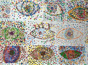 Pointillist style paintings of eyes
