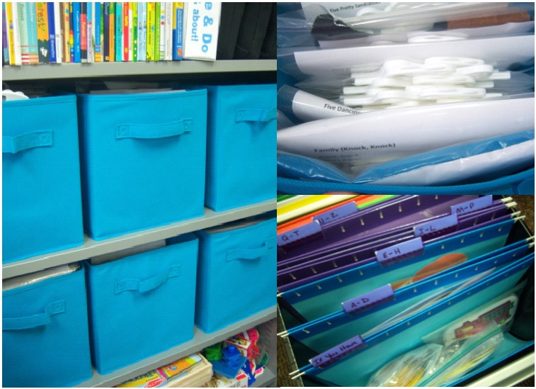 Storage bins (left), hanging bags (upper right), hanging files (lower right). [Photo courtesy of the author.]