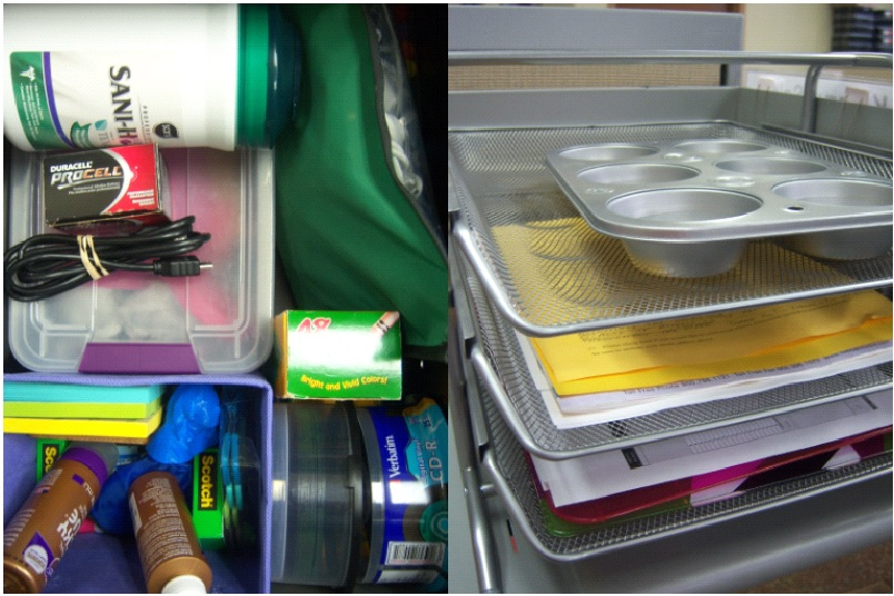 Inside of my drawer (left), the in-box solution (right). [Photo courtesy of the author.]