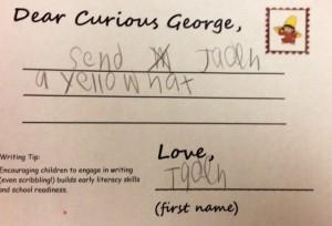 "hand written note reading ""Send Jaden a yellow hat. Love, Jaden."""