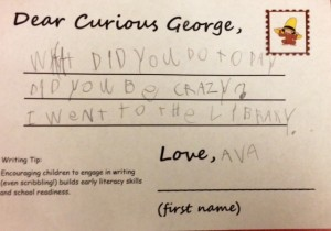 """hand written note reading """"What did you do today? Did you be crazy? I went to the library."""""""