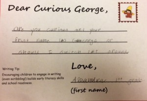 """hand written note reading """"Are you Curious and your first name is George or should I switch it around?"""""""