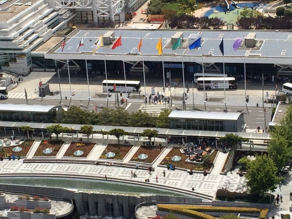 A bird's eye view of San Francisco's Moscone Center and its rainbow flags, home base of the 2015 ALA Annual Conference