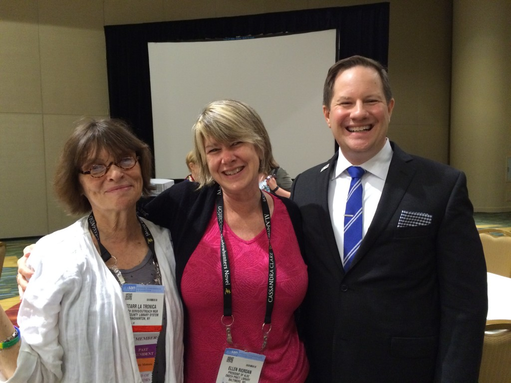 Past President Starr LaTronica, Immediate Past President Ellen Riordan, and President Andrew Medlar at the ALA Inaugural Brunch on June 30, 2015