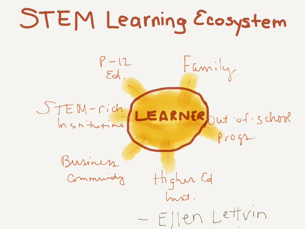 STEM Learning Ecosystem: P-12 Education, Family, Out-of-School Programs, Higher Education Institutions, Business Community, and STEM-rich Institutions as spokes around the Learner - Ellen Lettvin (Image by Amy Koester)