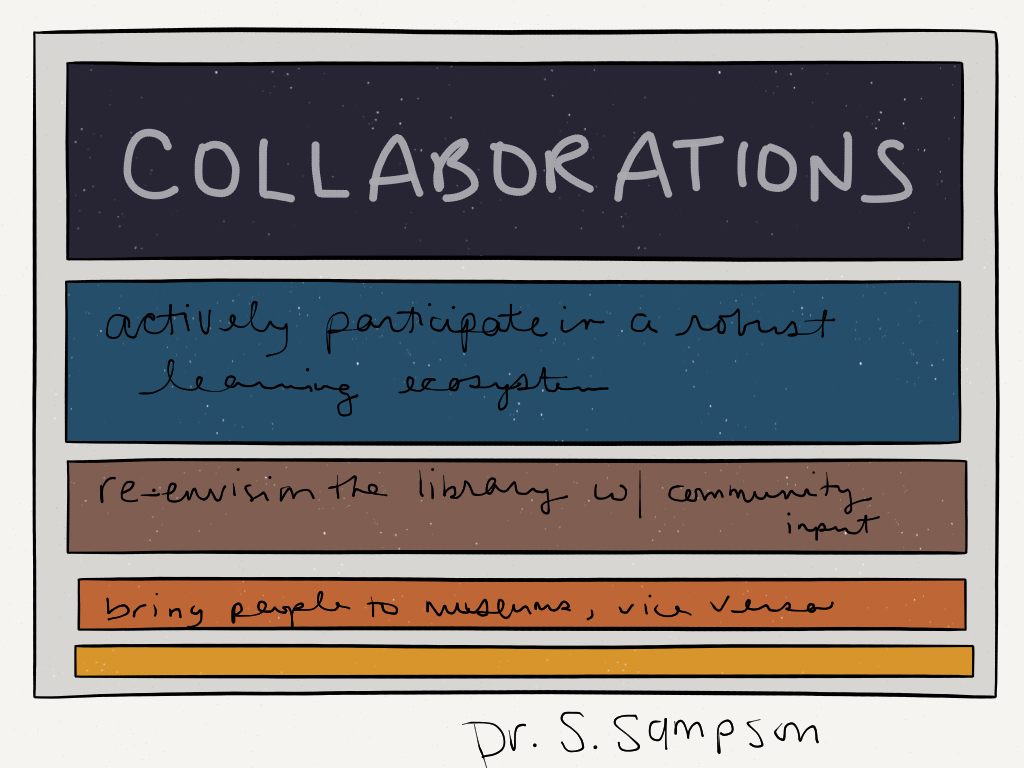 Collaborations: Actively participate in a robust learning ecosystem; Re-envision the library with community input; Bring people to museums, and vice versa -Dr. S. Sampson (Image by Amy Koester)