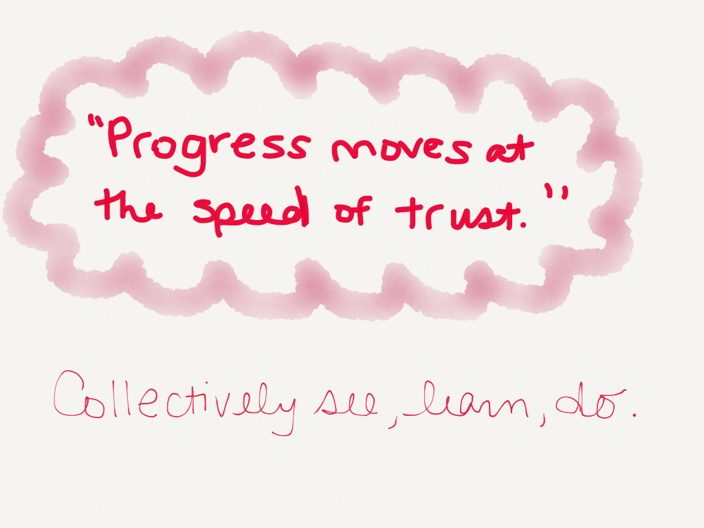 """Progress moves at the speed of trust."" Collectively see, learn, do. (Image by Amy Koester)"