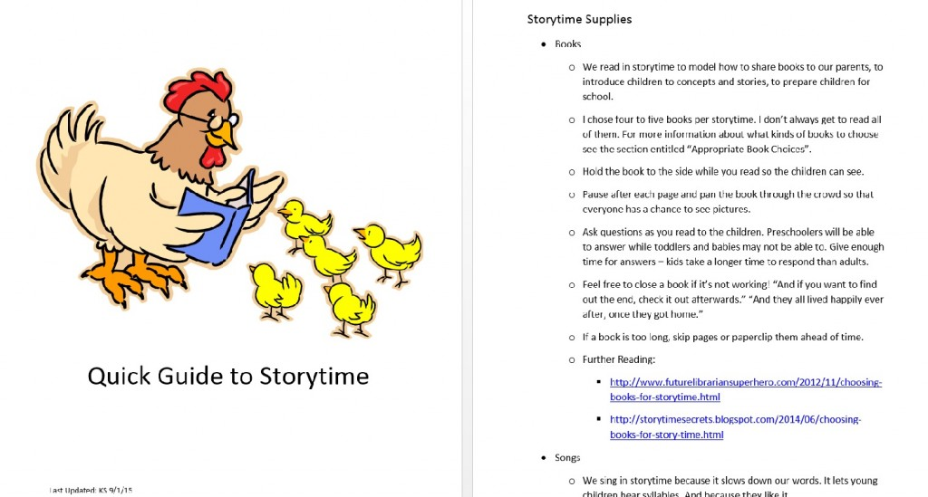 "A screenshot of the ""Quick Guide to Storytime"" storytime training guide. Photo courtesy of the author."