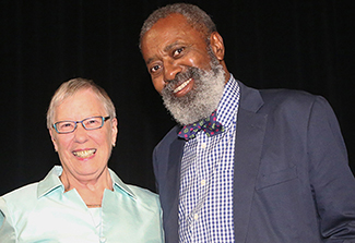 Karen Nelson Hoyle, chair of the 2015 Wilder Award Committee, and Donald Crews, winner of the 2015 Wilder Award. (Photo courtesy of ALSC)