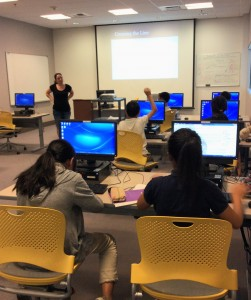 Mariah Cheng teaches digital citizenship to a class of 4th -8th graders at the Monterey Park Bruggemeyer Library. Photo by Diana Garcia.