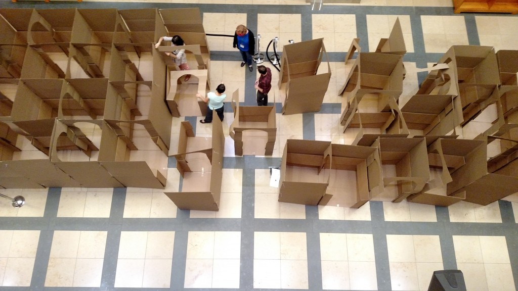 DPL staff putting the maze together. Photo credit: Kahla Gubanich