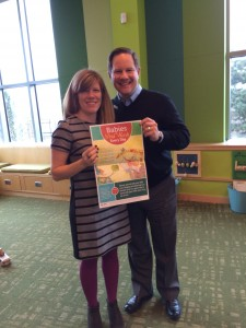 With Ashley in East Boston. (Note the Babies Need Words Every Day poster and great interactive elements in the children's room!) Photo by Branch Librarian Margaret Kelly
