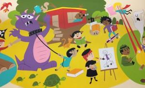 Fabulous mural in the Watertown children's room by Craig Bostick (http://www.aquaboy.net/).