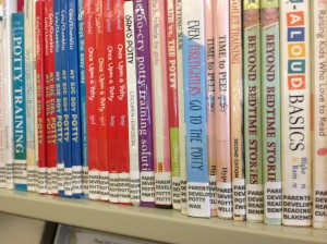 Up-close photo of the spine labels of our Parent Teacher collection. [Photo courtesy of the author.]