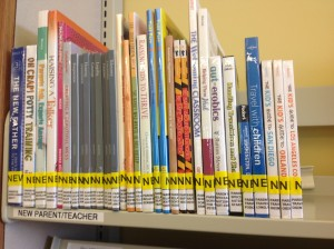 Our Parent Teacher Collection new materials shelf -- shows the range of what we're buying. [Photo courtesy of the author.]