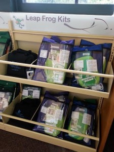 Picture of LeapFrog circulating kits on the shelf. [Photo courtesy of the author.]