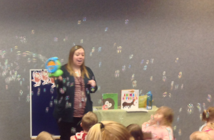 Bubbles in storytime (photo courtesy of guest blogger)