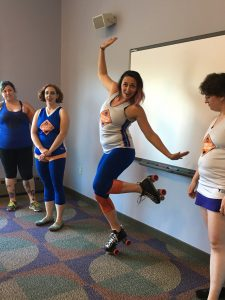 Fancy footwork from a Burning River Roller Derby visitor! Photo by Nicole Martin.