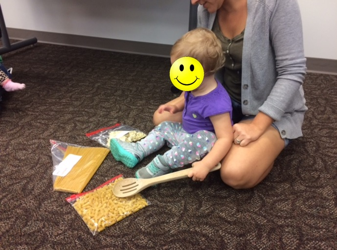 Dry pasta in a zip lock bag makes for a great activity to develop gross motor skills. Have children hit the bags to listen to the different sounds each bag makes.
