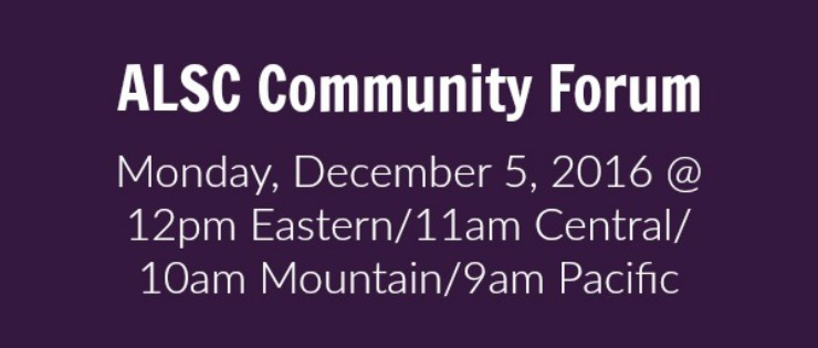 Save the Date for the ALSC Community Forum on 12/5