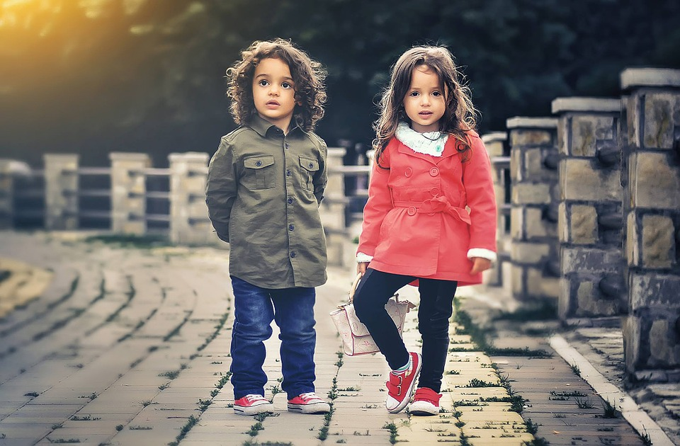 Stock photography of two young children