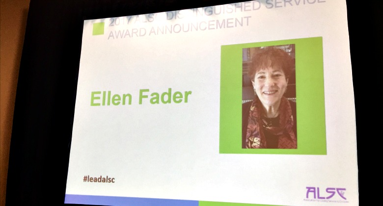 Ellen Fader is announced at the 2017 ALSC DSA recipient
