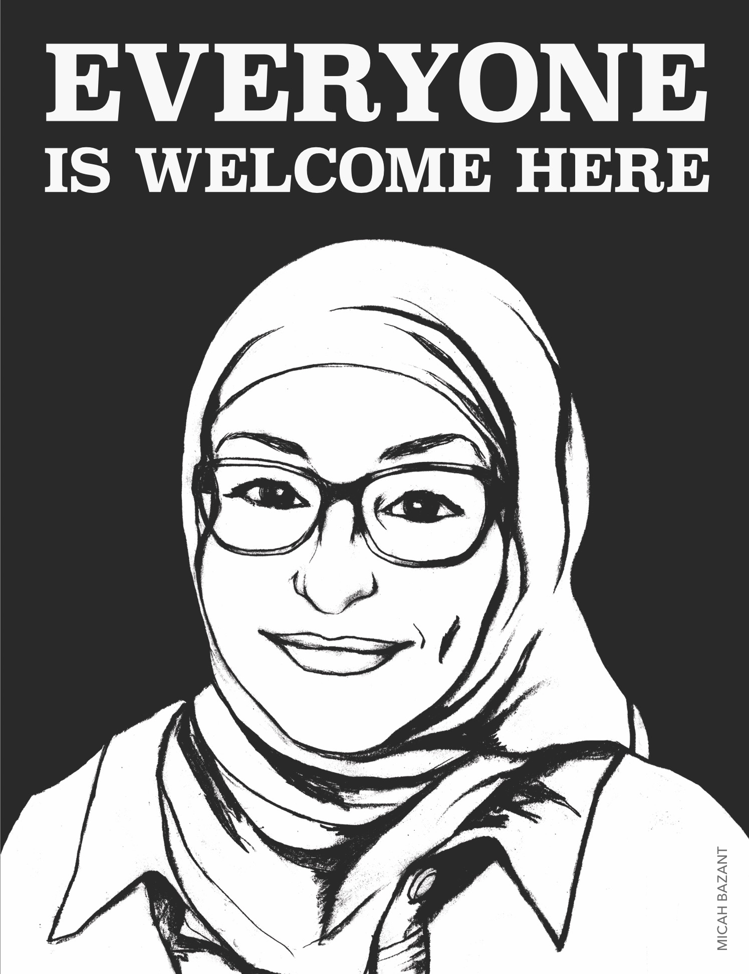 "Micah Bazant's ""Everyone Is Welcome Here"" poster"