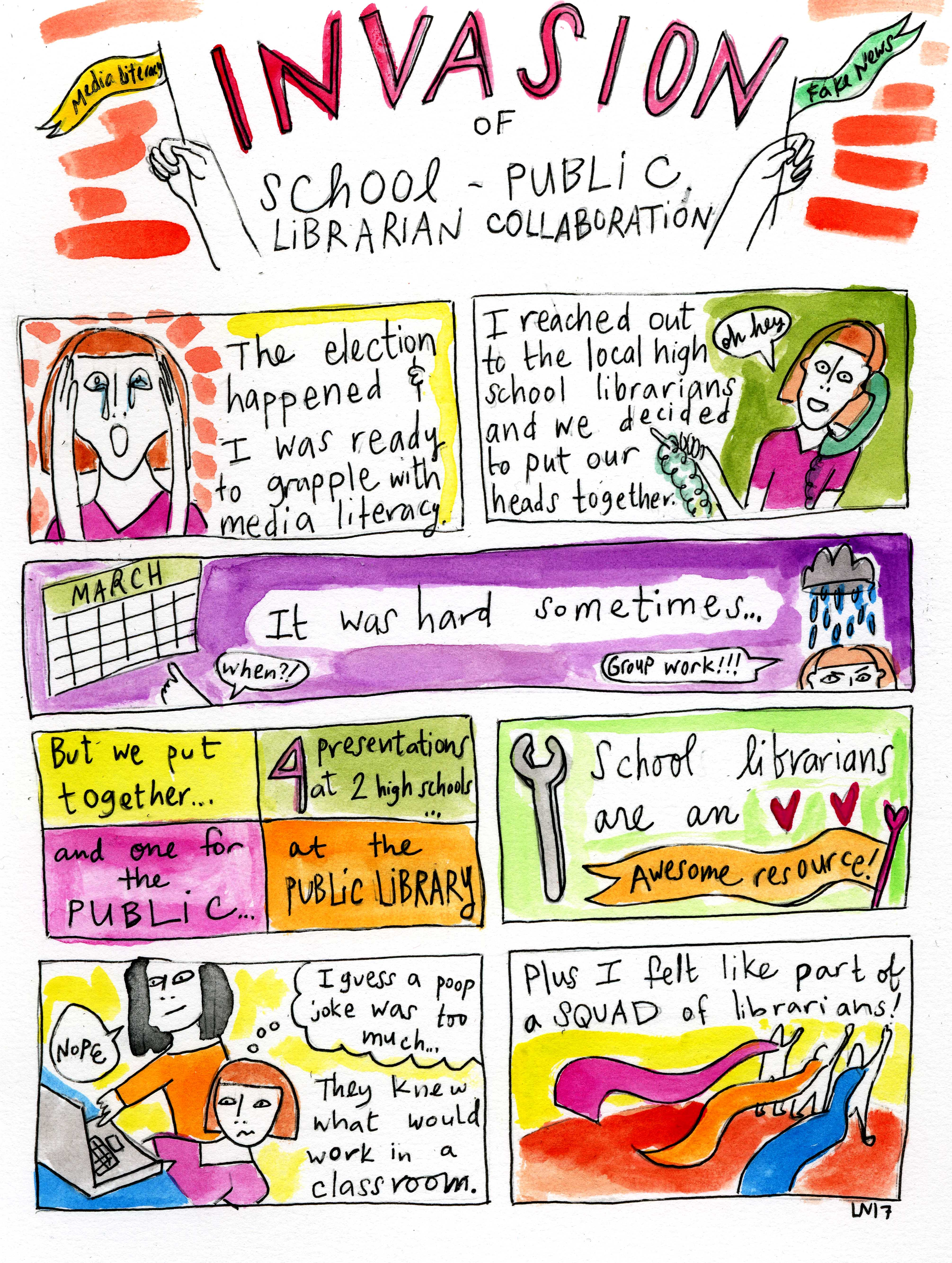 "Graphic titled ""Invasion of School-Public Librarian Collaboration"""
