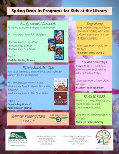 Spring events at the library sample flyer