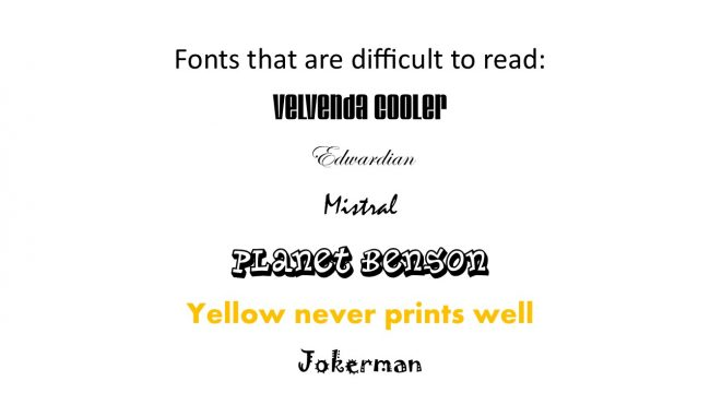 Fonts that are difficult to read